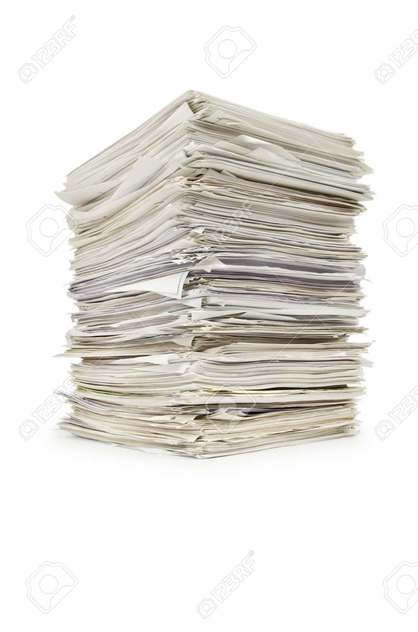 Pile of papers on white Stock Photo - 14794083