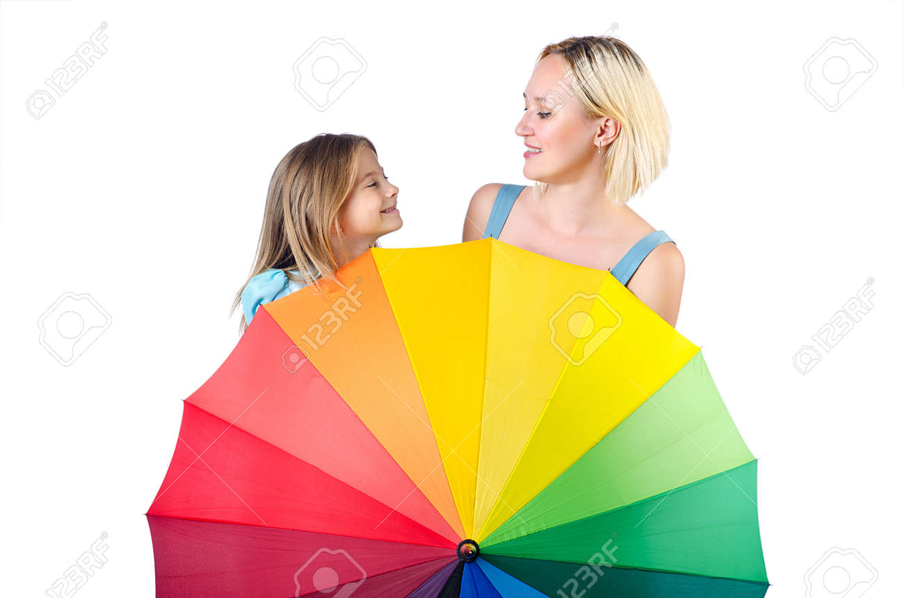 Happy mom and daughter on white Stock Photo - 15129280