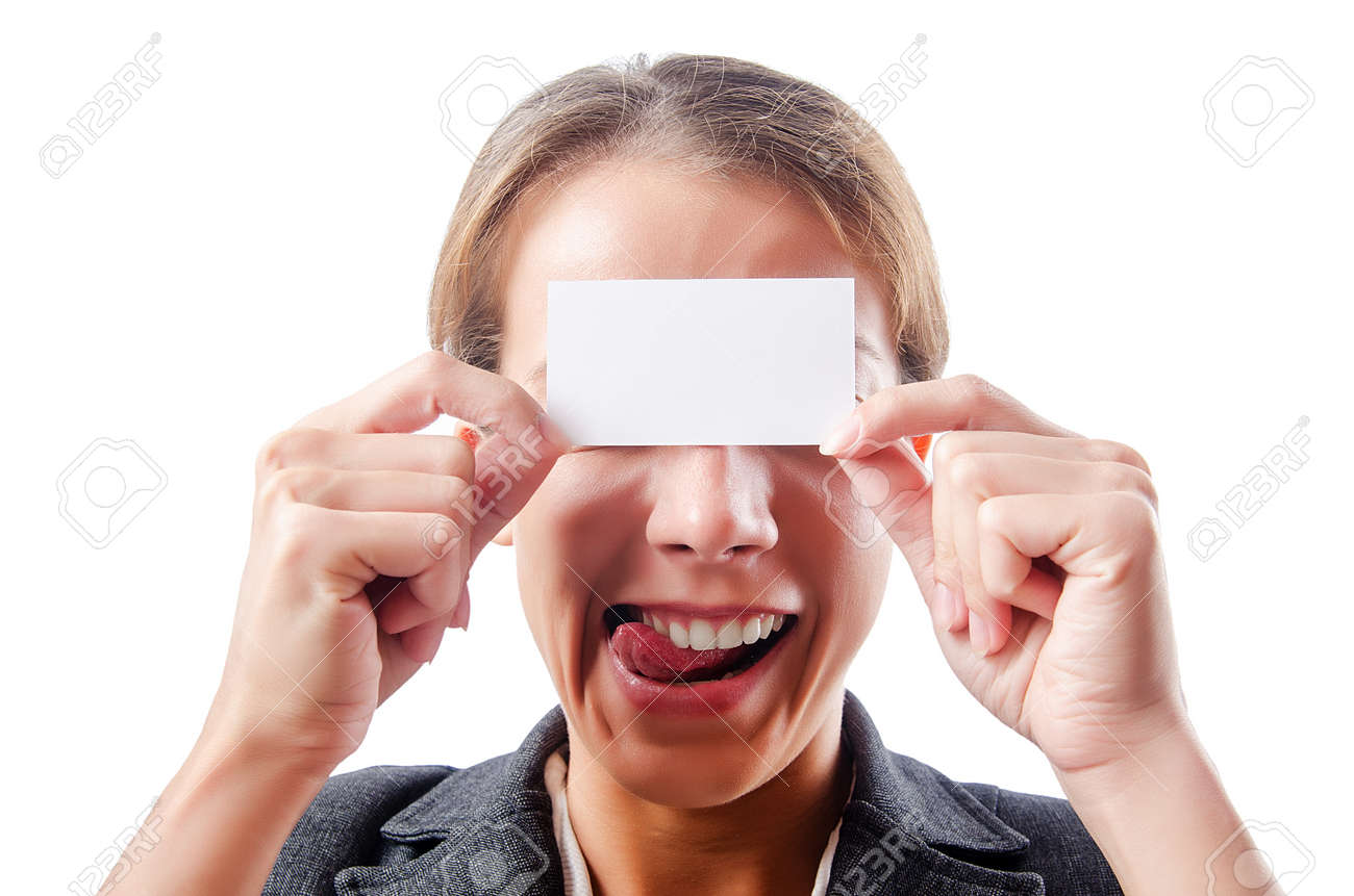 Woman with blank board Stock Photo - 15177272