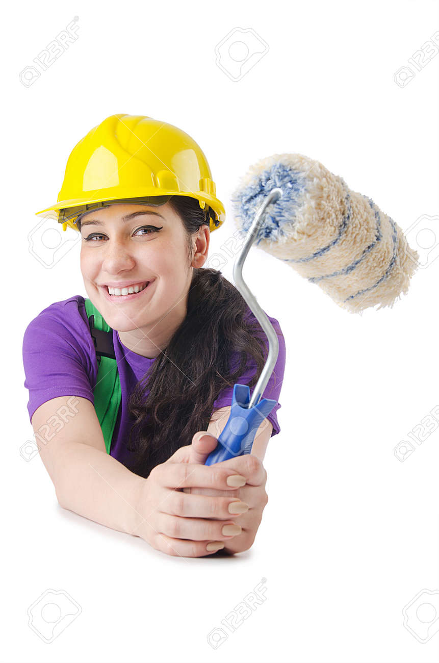 Woman painter isolated on the white Stock Photo - 15254544