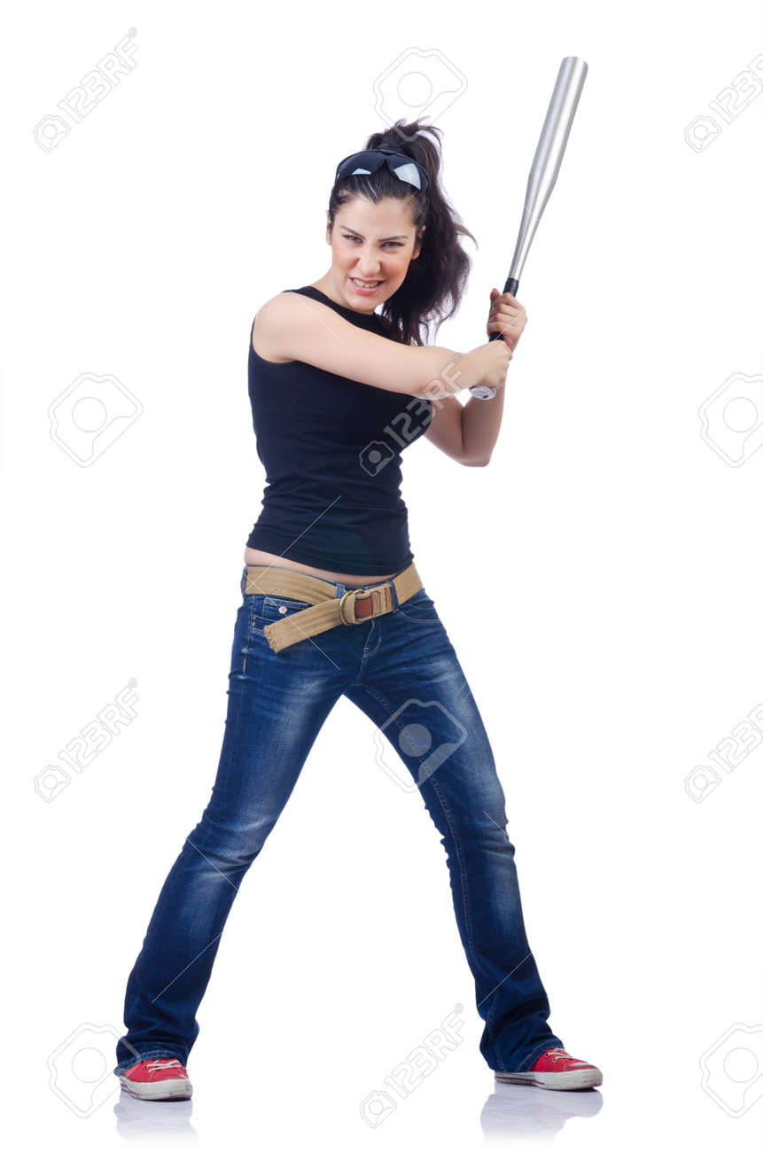 Woman criminal with bat on white Stock Photo - 15250884