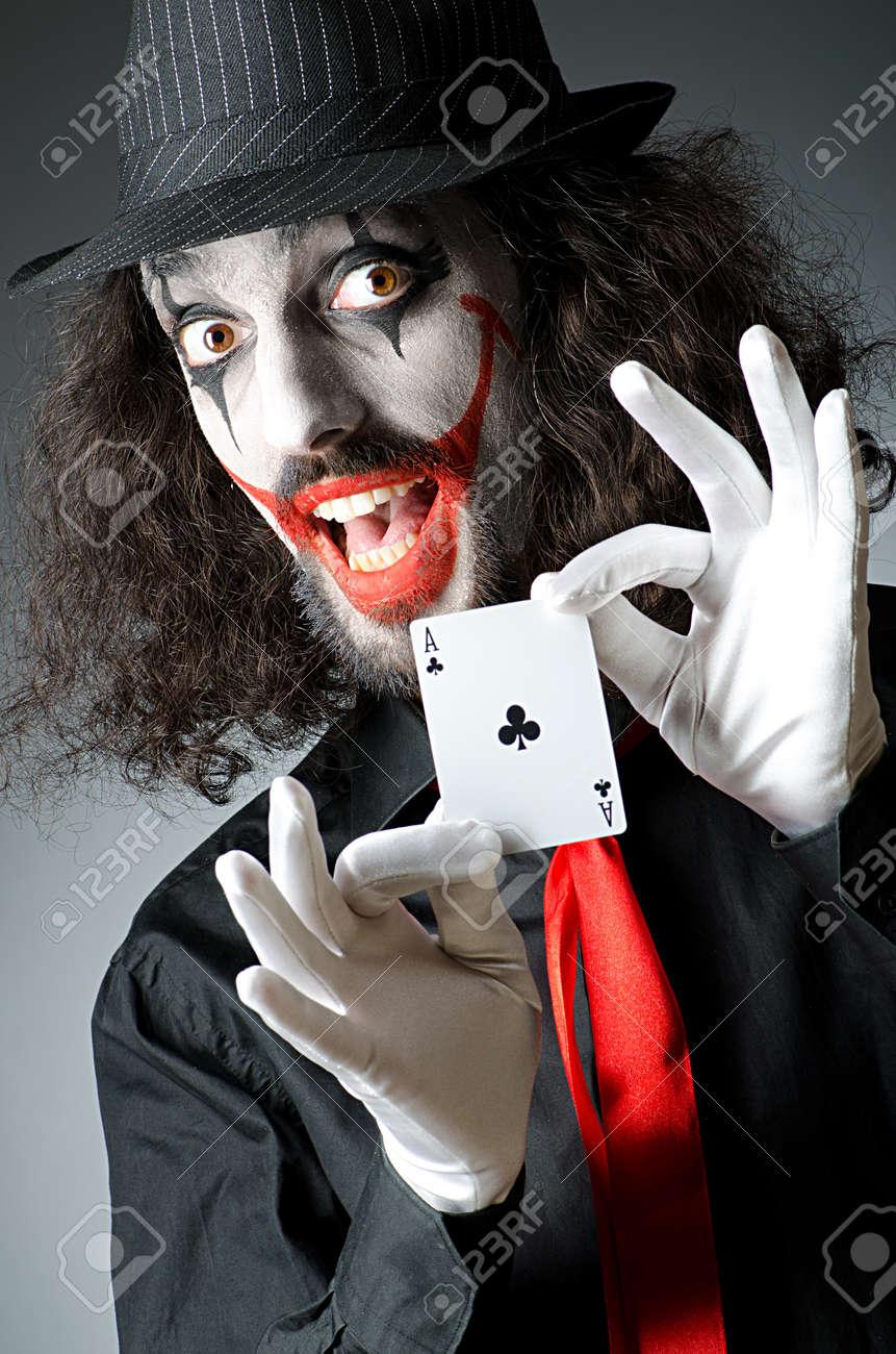 Halloween Joker Card.Joker With Cards In Studio Shoot