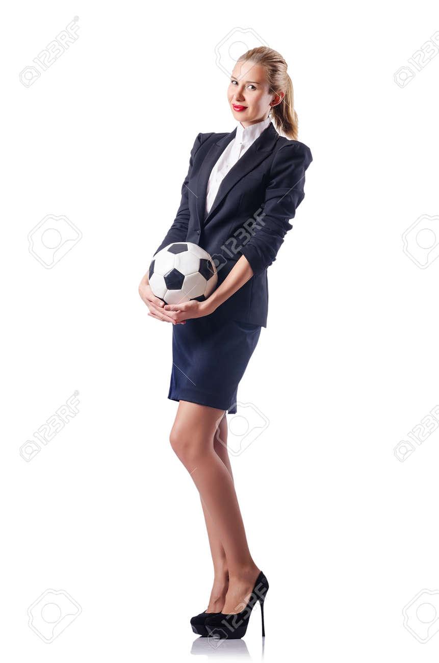 Businesswoman with football on white Stock Photo - 15531620