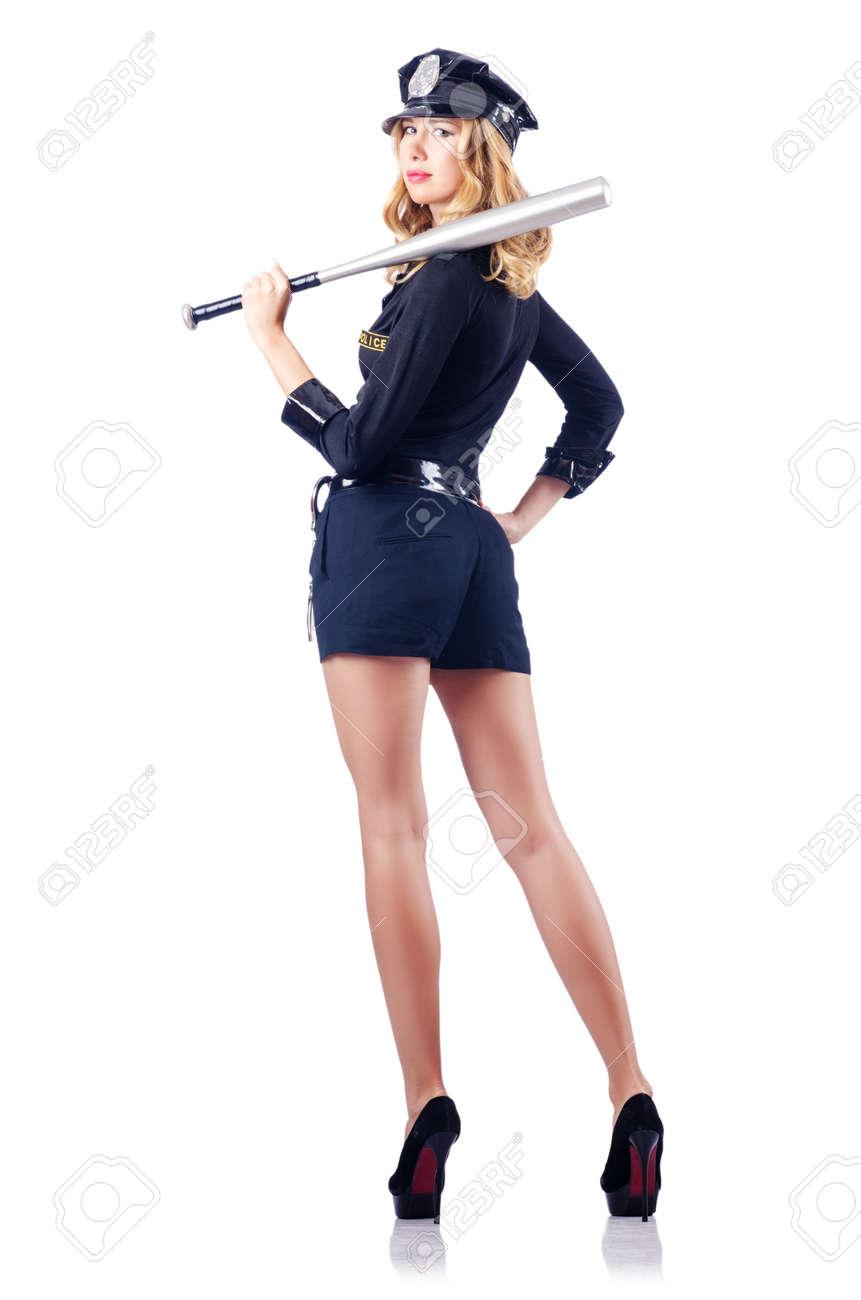 Woman police with baseball bat Stock Photo - 15531621