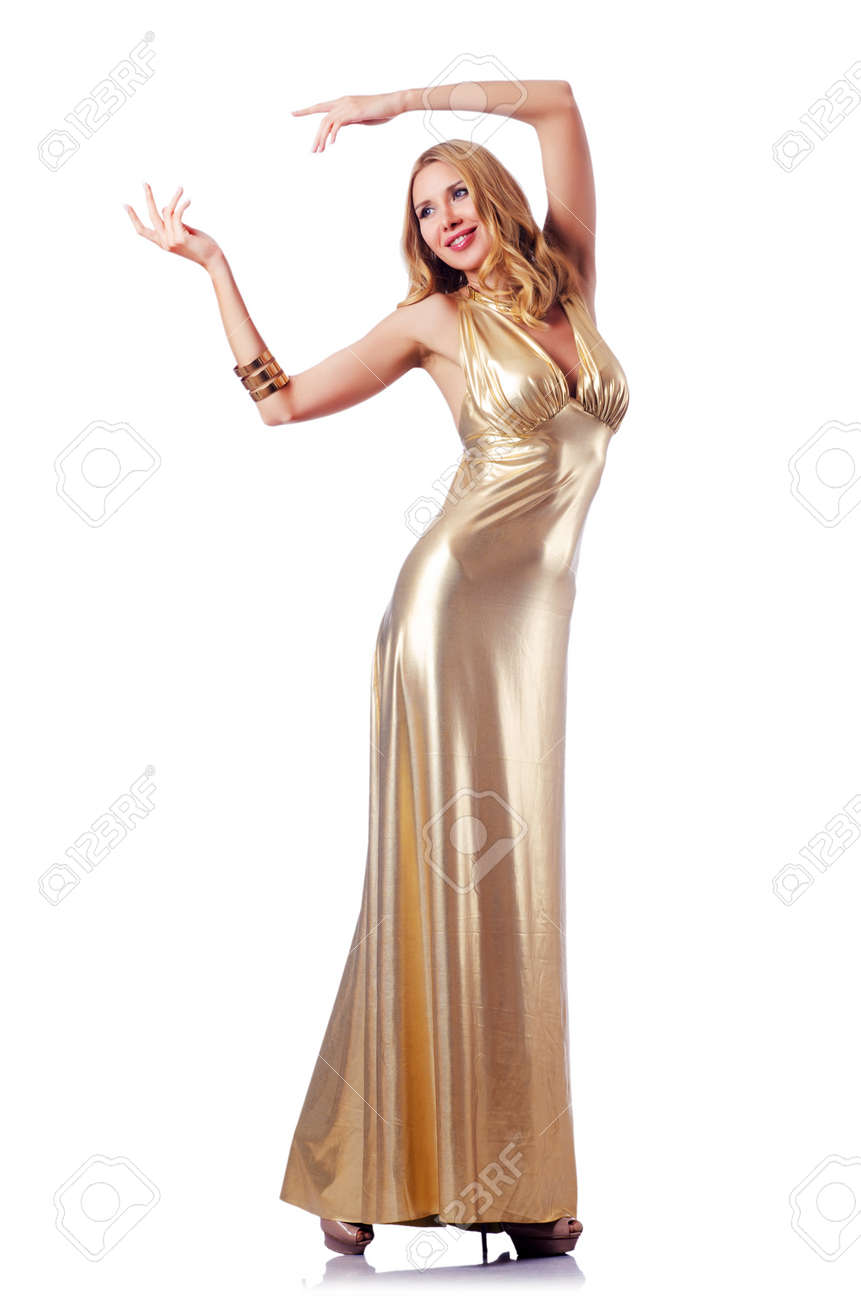 Woman in attractive dress on white Stock Photo - 15531634
