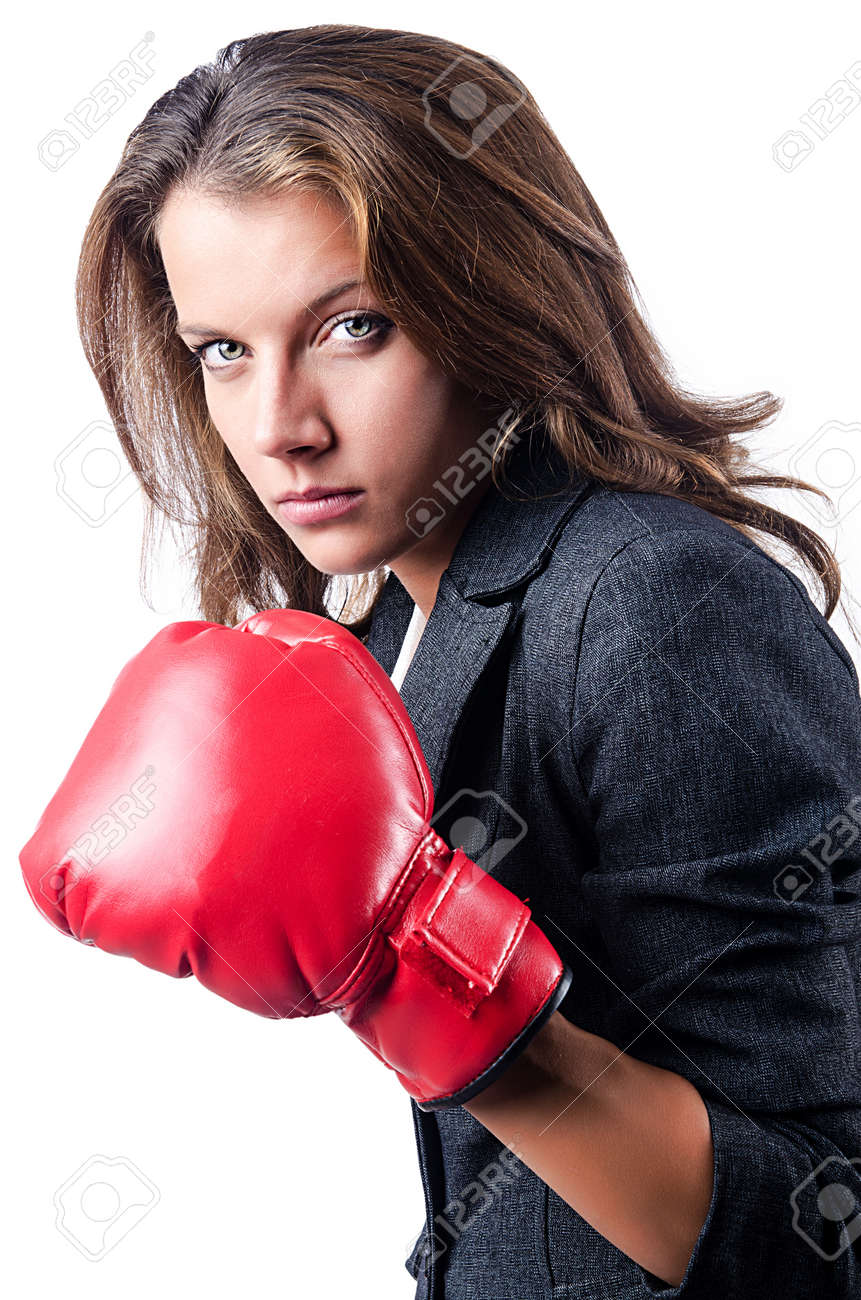 Angry businesswoman with boxing gloves Stock Photo - 15585997