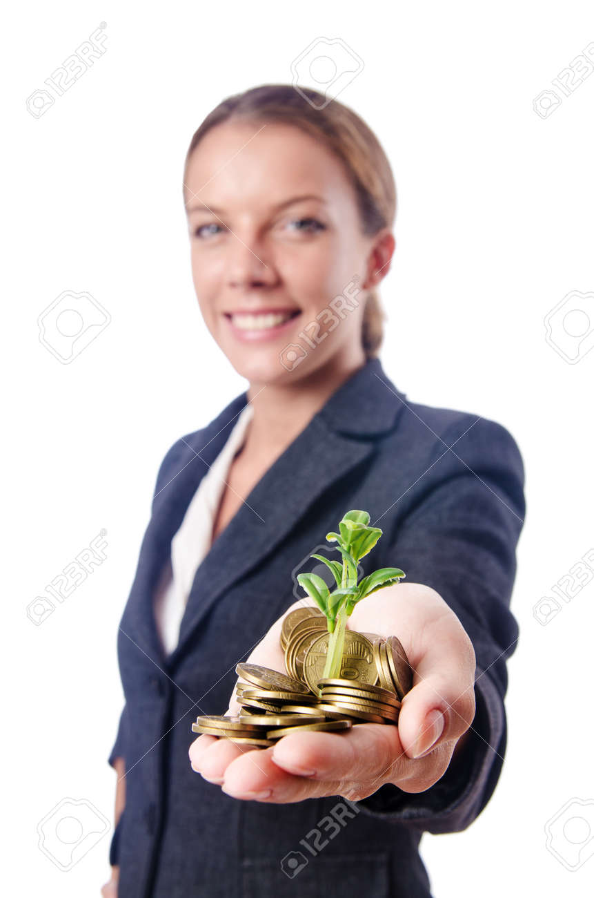 Businesswoman with seedlings and coins Stock Photo - 15545249