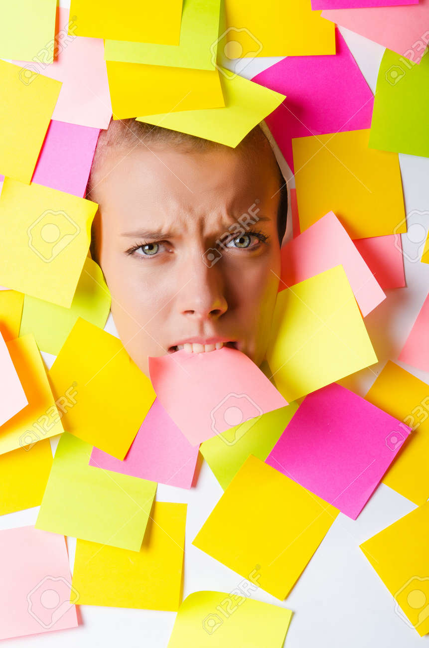 Woman with lots of reminder notes Stock Photo - 15545539