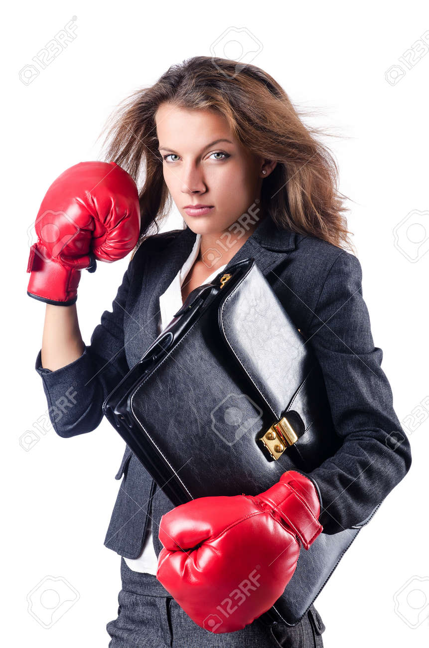 Angry businesswoman with boxing gloves Stock Photo - 15570823