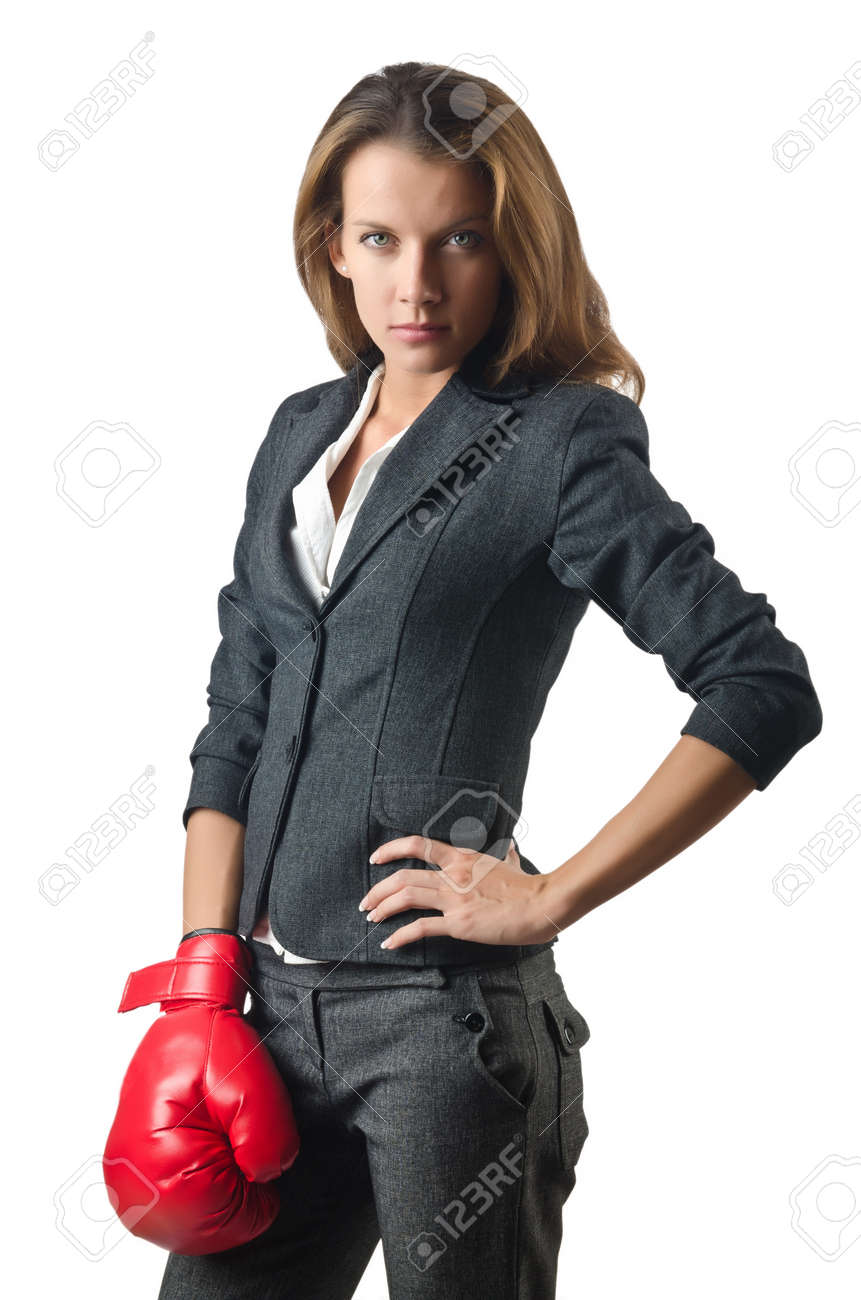 Young businesswoman in boxing concept Stock Photo - 15566791