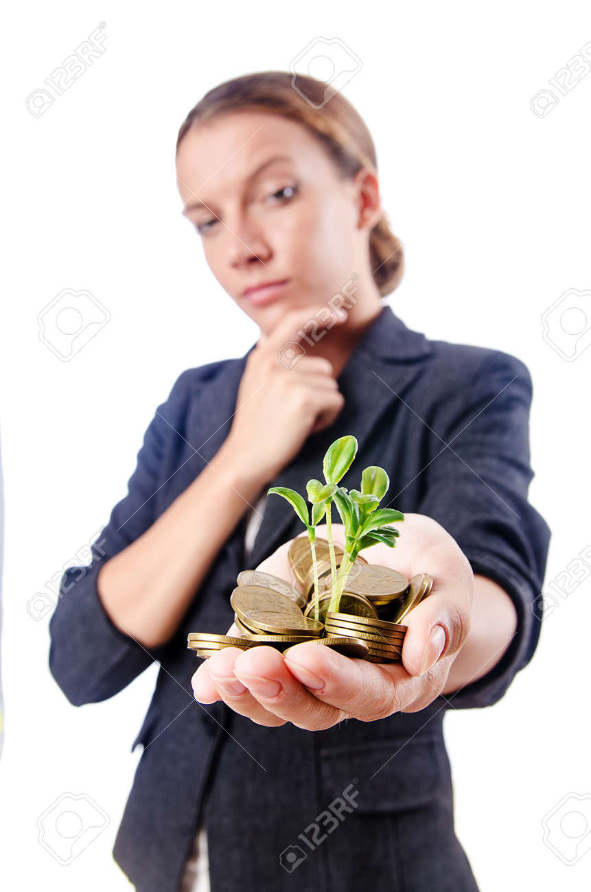 Businesswoman with seedlings and coins Stock Photo - 15570905