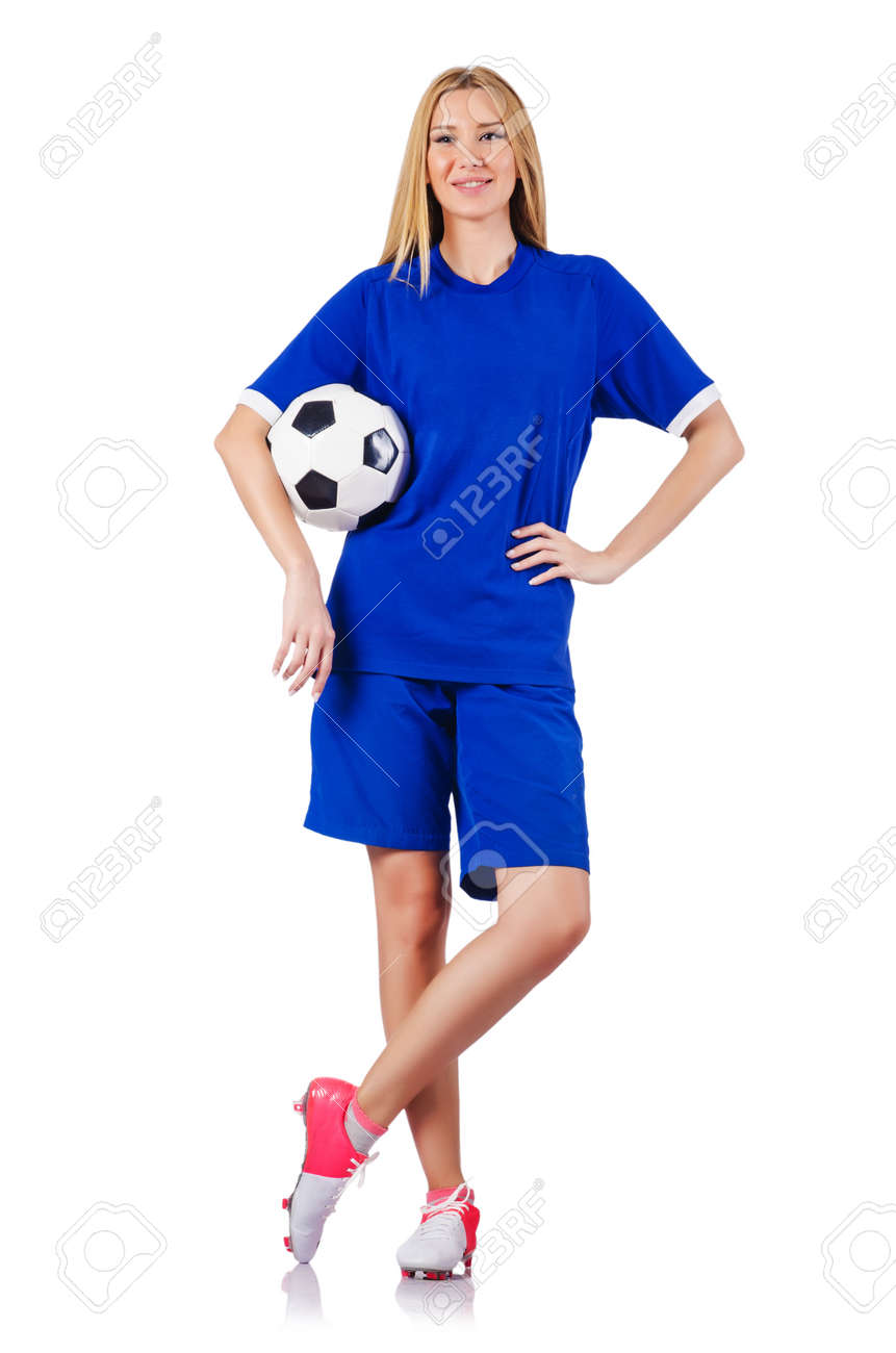 Woman playing football on white Stock Photo - 15571068