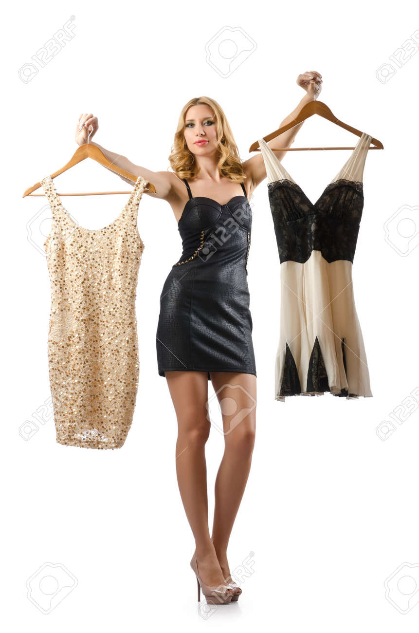 Young attractive woman trying new dresses Stock Photo - 15766824
