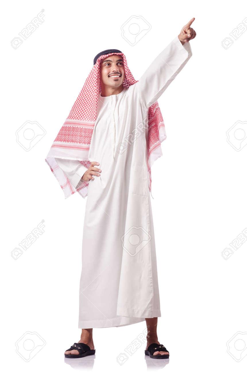 Arab man pressing virtual buttons Stock Photo - 15766590