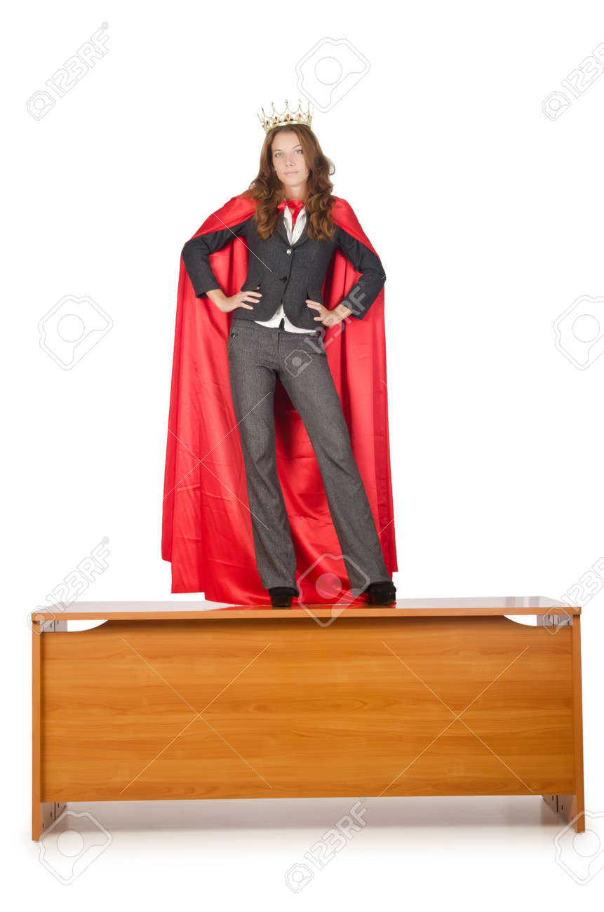 Queen businessman standing on the desk Stock Photo - 15926237