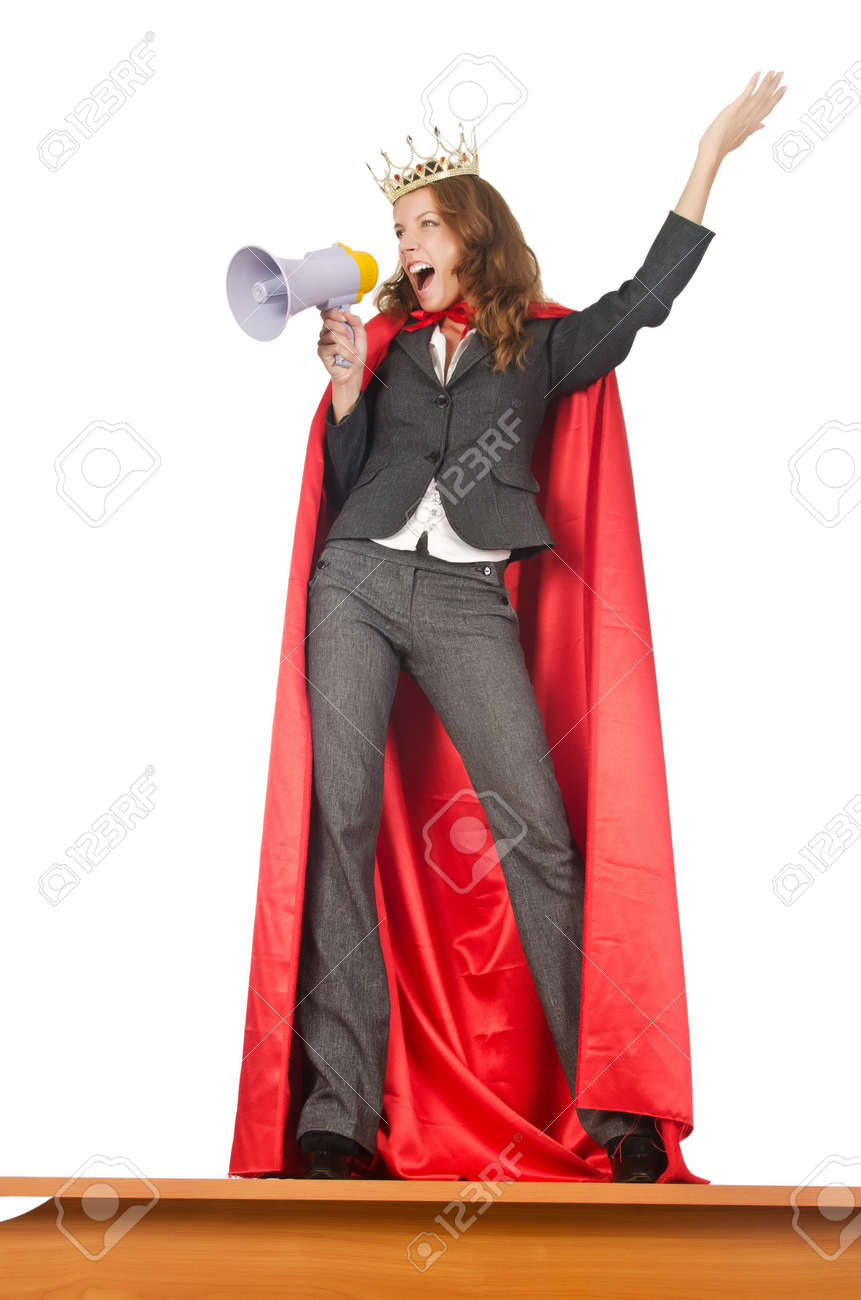 Queen businessman standing on the desk Stock Photo - 15926467