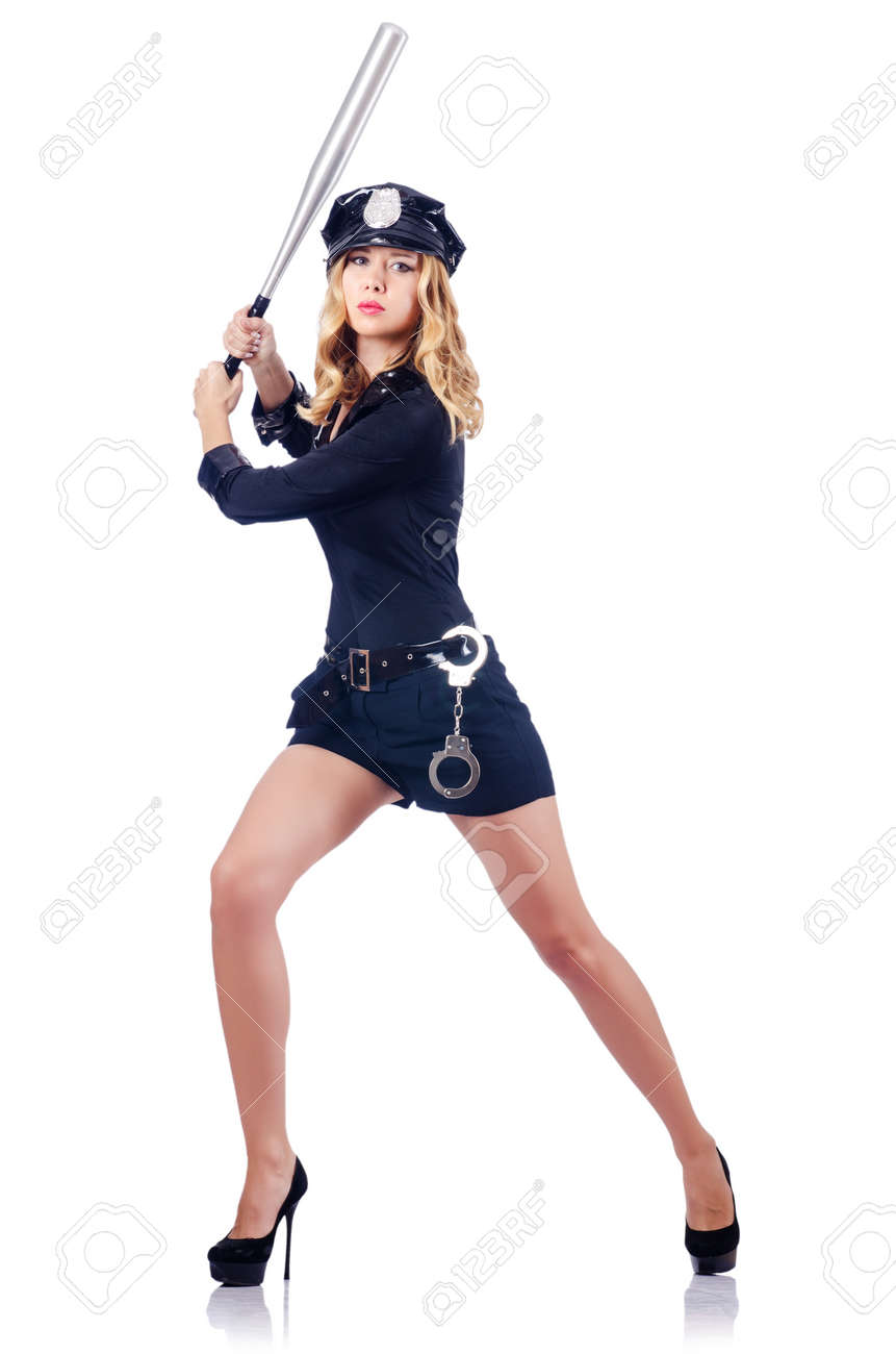 Woman police with baseball bat Stock Photo - 16064521