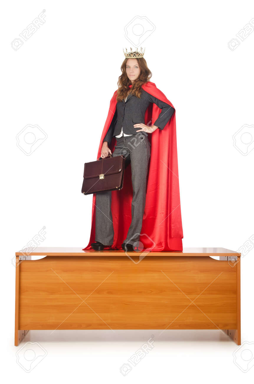 Queen businessman standing on the desk Stock Photo - 16934041