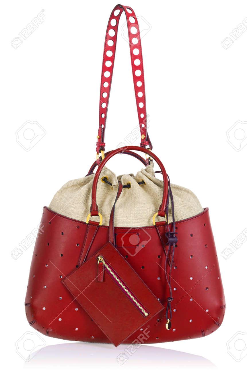 Elegant woman bag isolated on white Stock Photo - 16125096