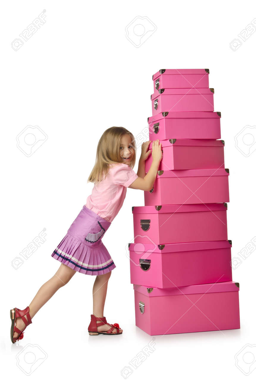 Little cute girl with lots of boxes Stock Photo - 16146079