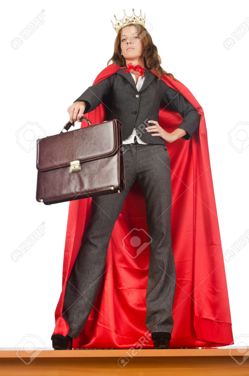Queen businessman standing on the desk Stock Photo - 16178579