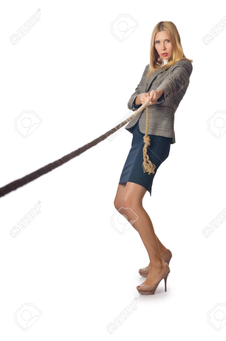 Businesswoman in tug of war concept Stock Photo - 16283609