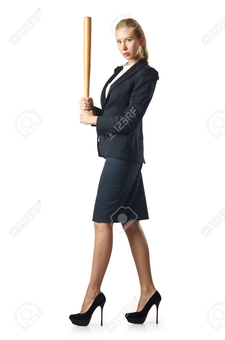 Businesswoman with baseball bat on white Stock Photo - 16283164