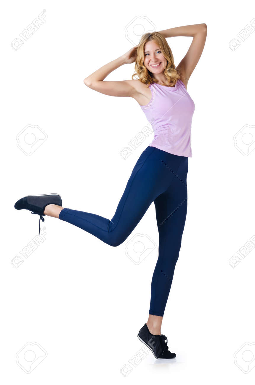 Sport concept  - Woman doing sports on white Stock Photo - 16283624