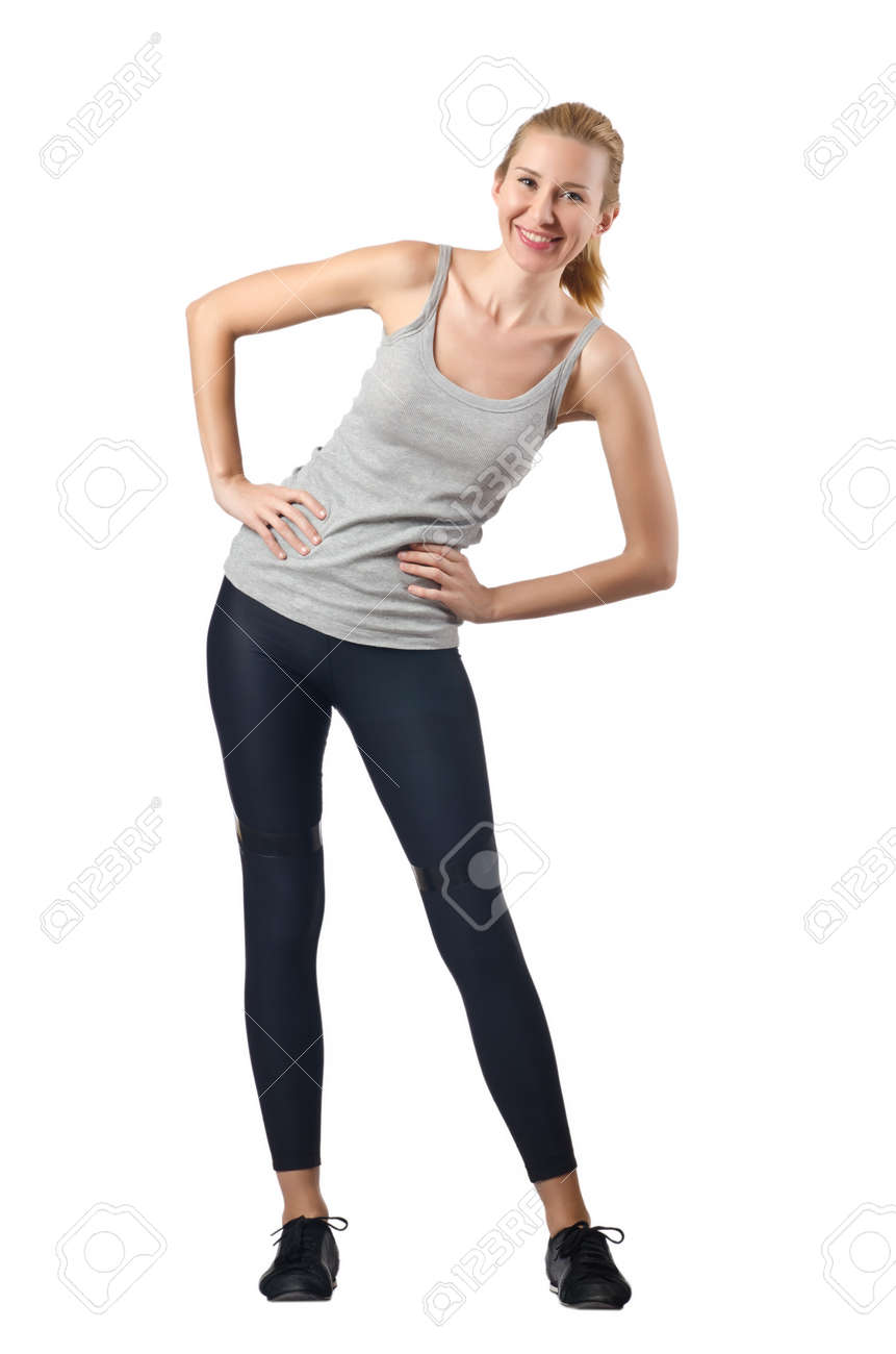 Woman doing exercises on white Stock Photo - 16282222