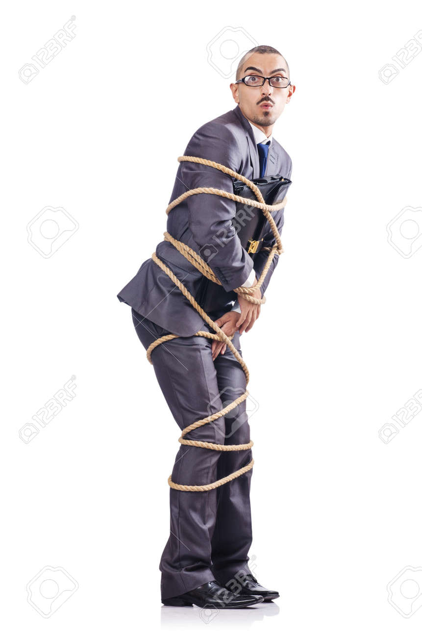 Businessman tied up with rope Stock Photo - 16281473
