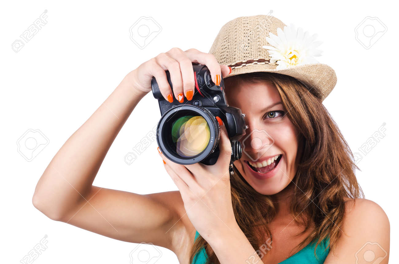 Attractive female photographer on white Stock Photo - 16276133