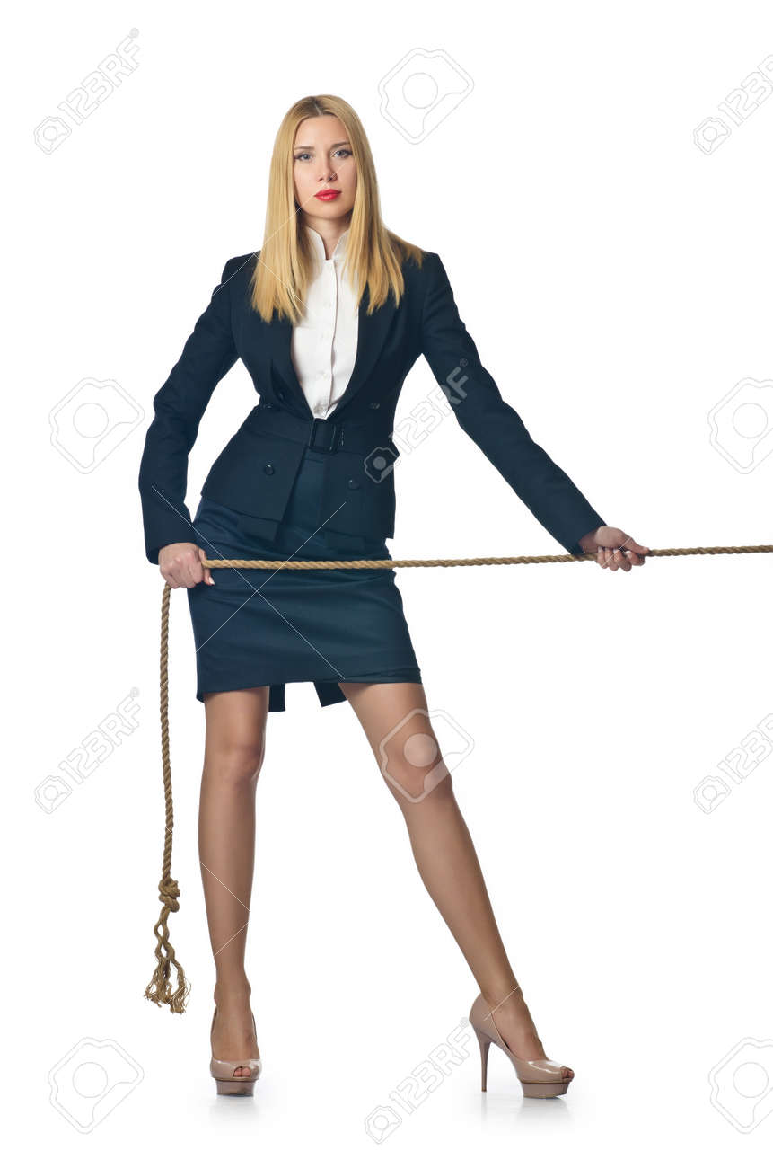 Businesswoman in tug of war concept Stock Photo - 16388062