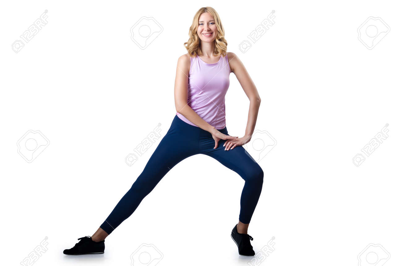 Sport concept  - Woman doing sports on white Stock Photo - 16387669
