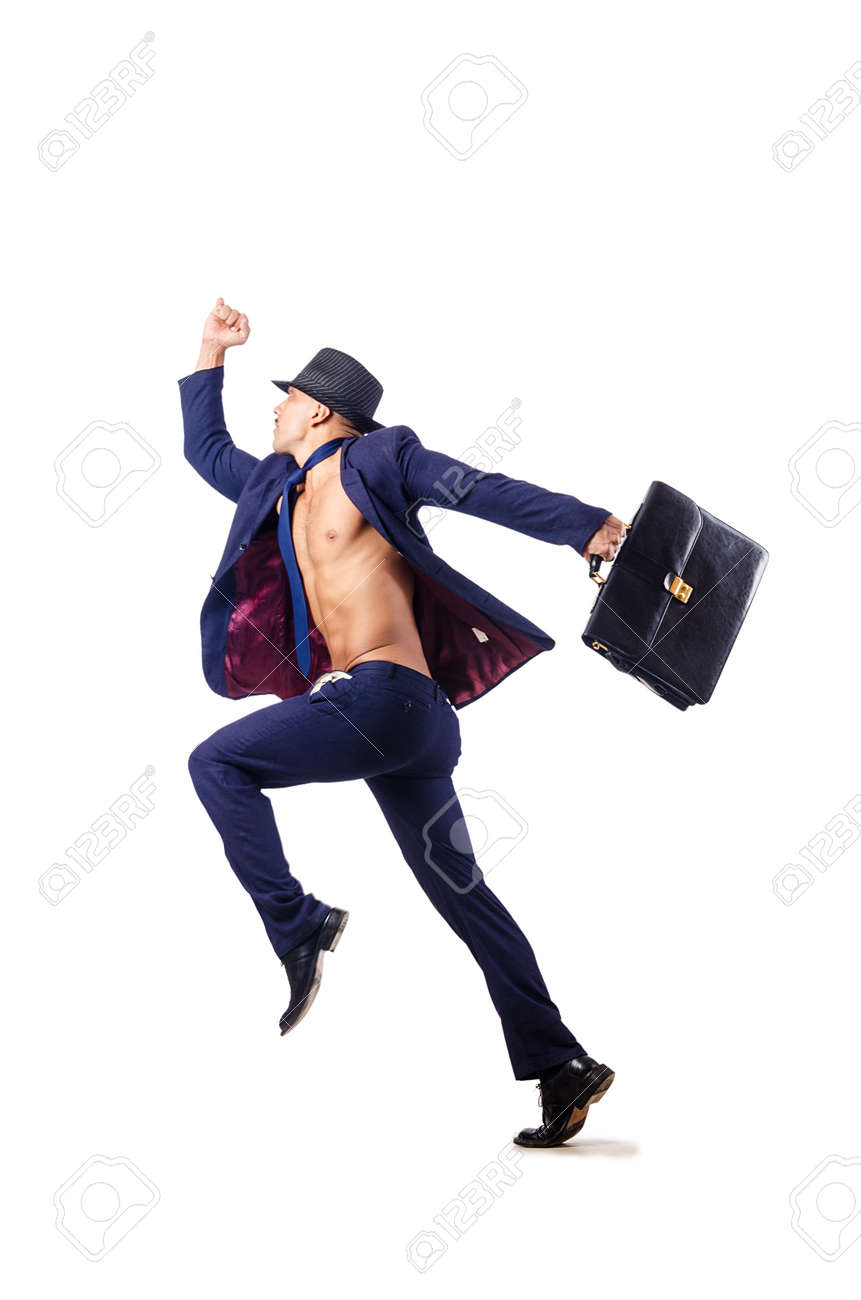 Naked businessman jumping on white Stock Photo - 16471286