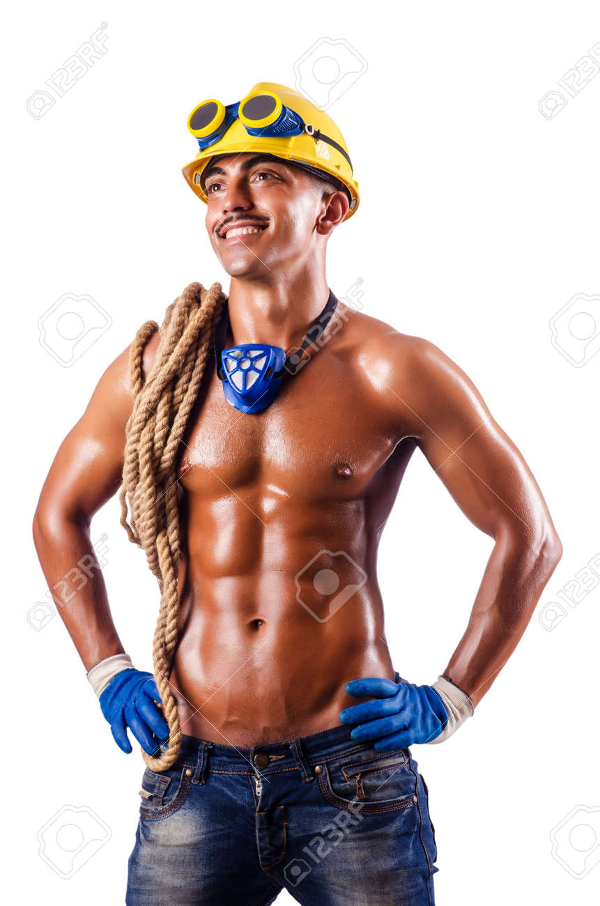 Muscular builder with tools isolated on white Stock Photo - 16491552