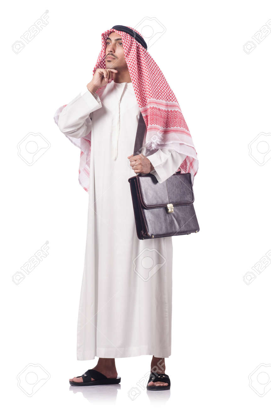 Diversity concept with arab on white Stock Photo - 16475716