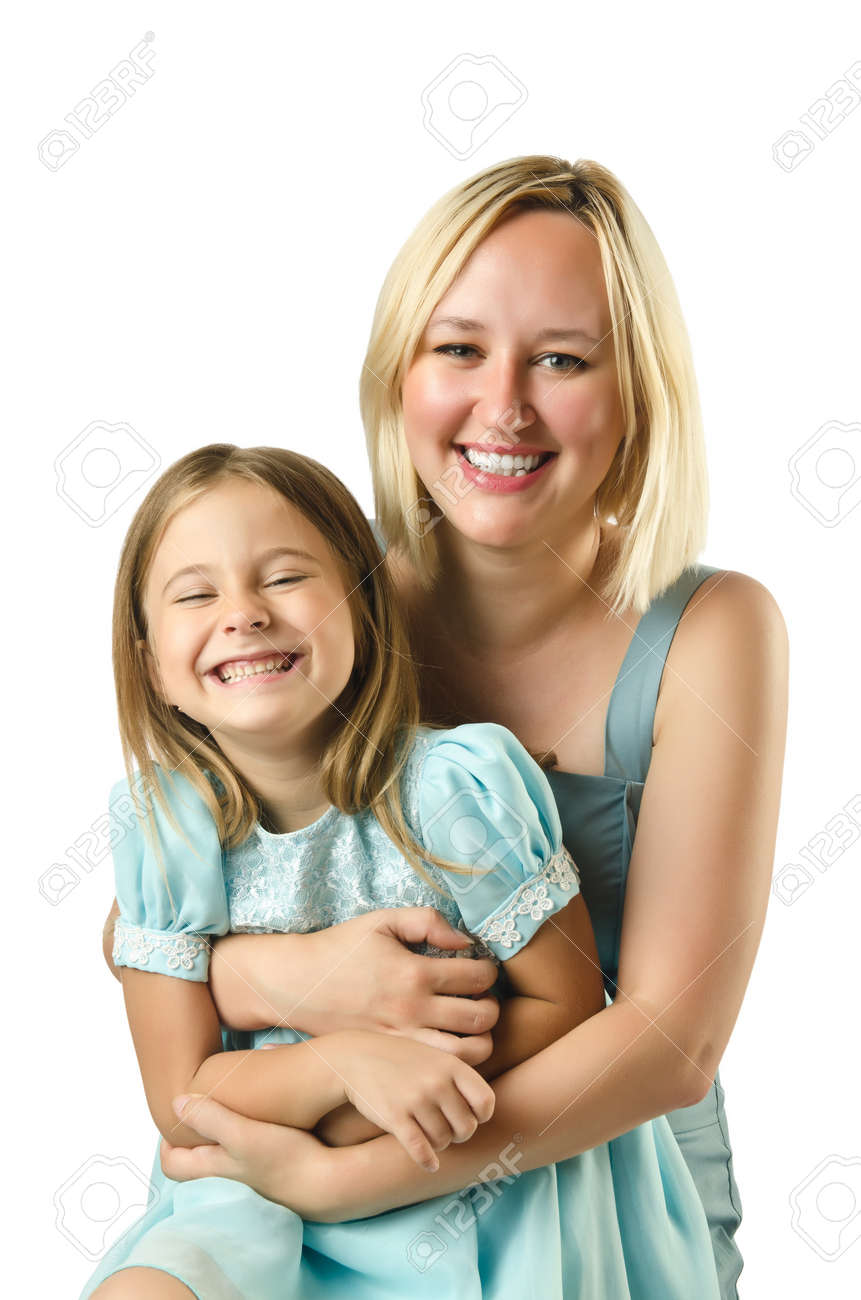 Mother with daughter isolated on white Stock Photo - 16934264