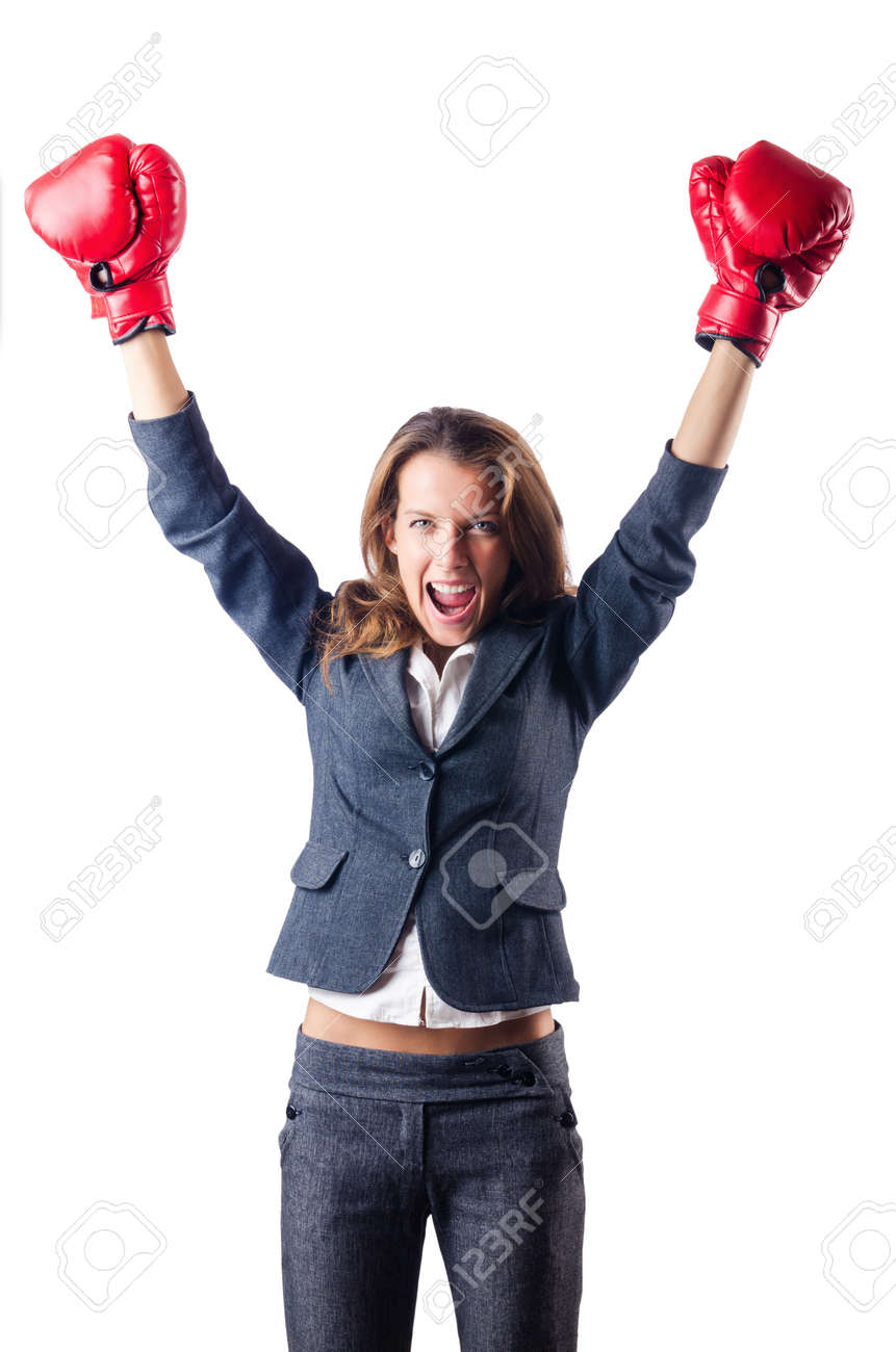 Woman businesswoman with boxing gloves on white Stock Photo - 16934004