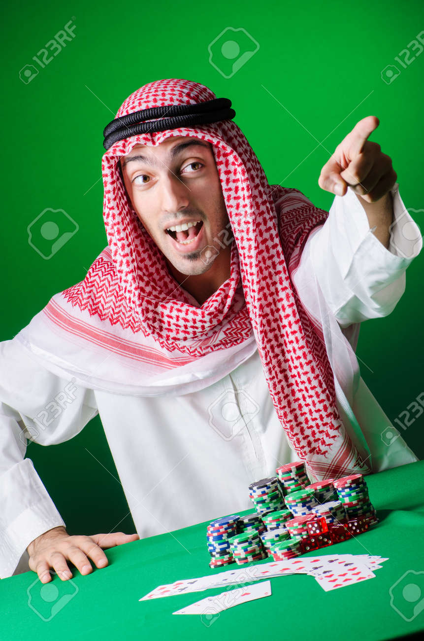 Arab playing in casino - gambling concept with man Stock Photo - 16934006