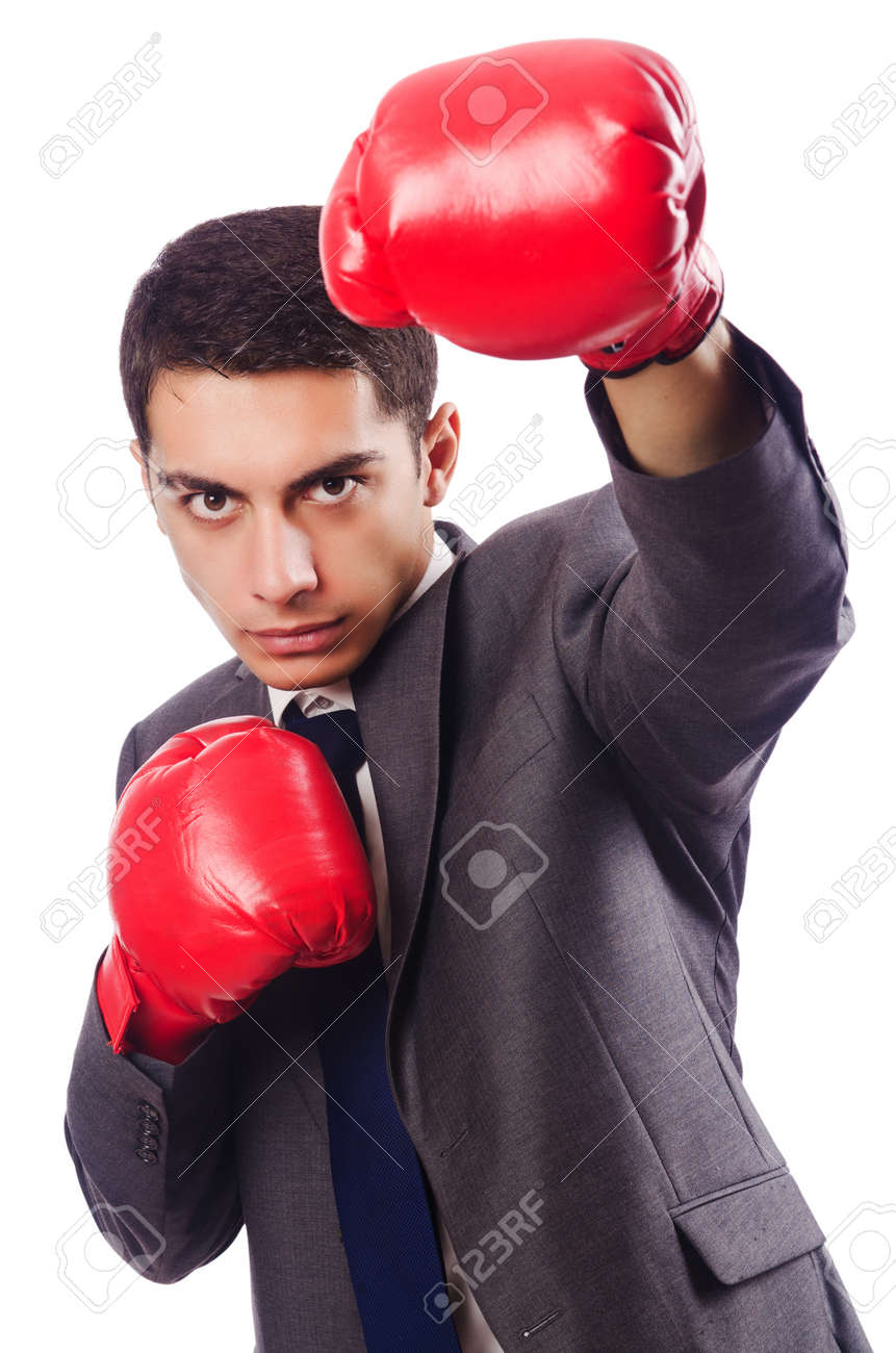 Businessman with boxing gloves on white Stock Photo - 16934311