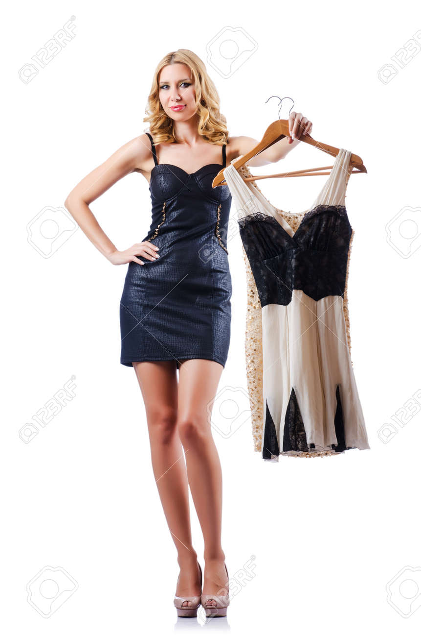 Attractive woman trying new clothing on white Stock Photo - 16747999