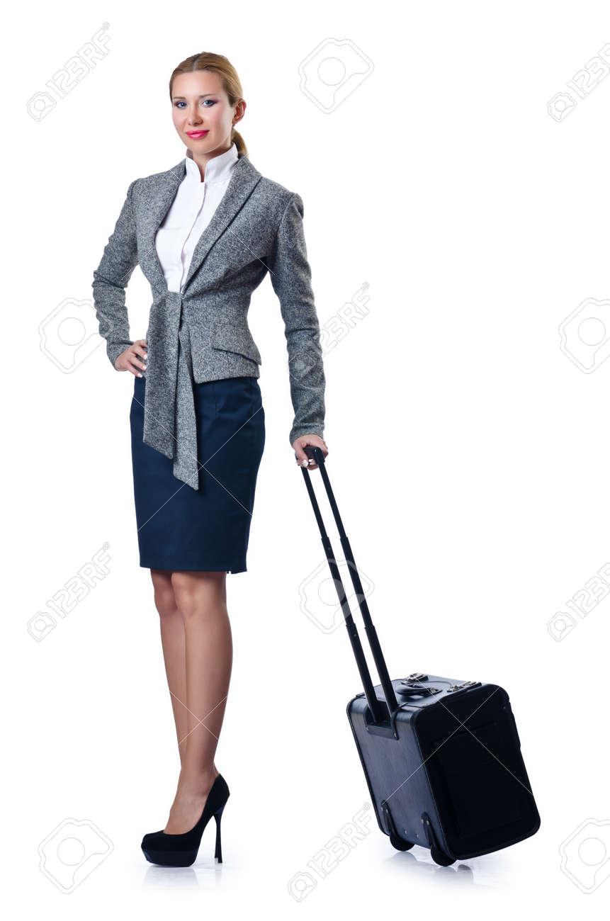 Woman businesswoman with luggage on white Stock Photo - 16765173