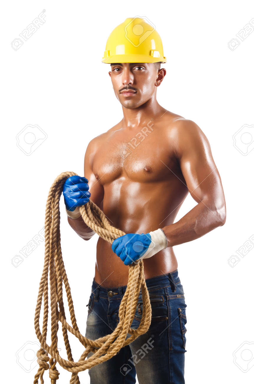 Naked construction worker on white Stock Photo - 16748940