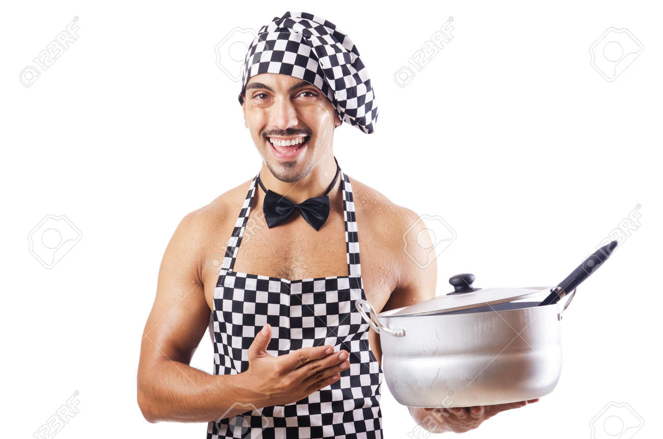 Sexy male cook isolated on the white Stock Photo - 16748886