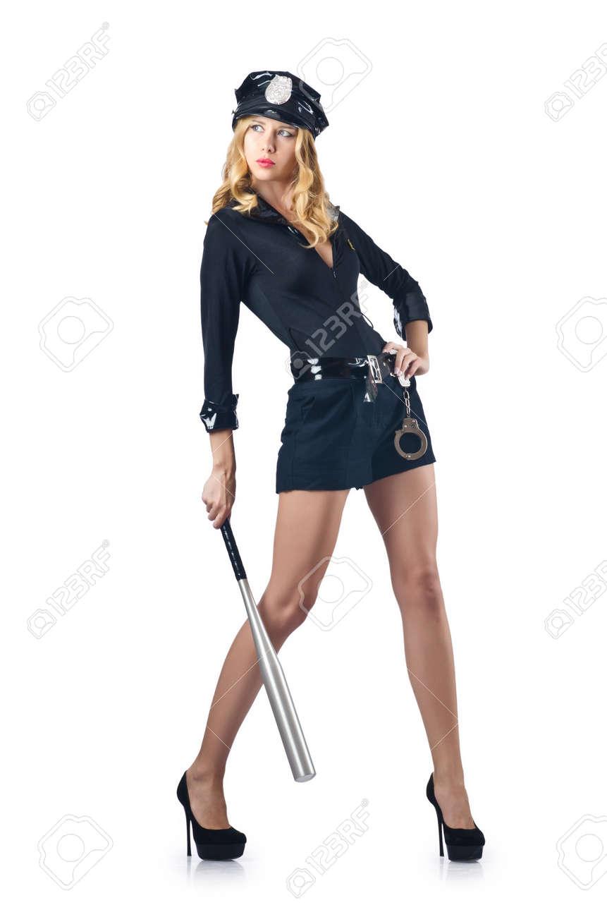 Woman police with baseball bat Stock Photo - 16748723