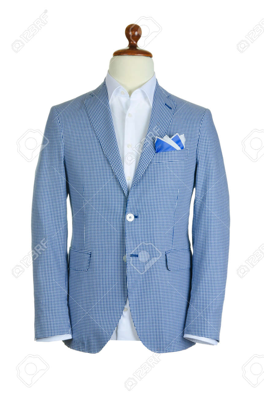 Male clothinh suit on stand isolated white Stock Photo - 16721520