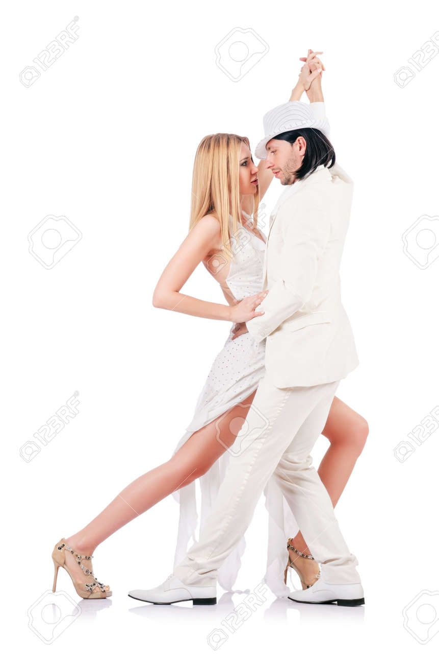 Pair dancing dances isolated on white Stock Photo - 16934318