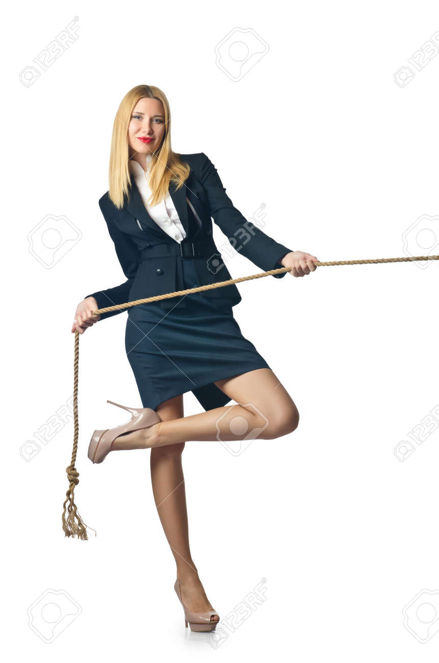 Businesswoman in tug of war concept Stock Photo - 16934218
