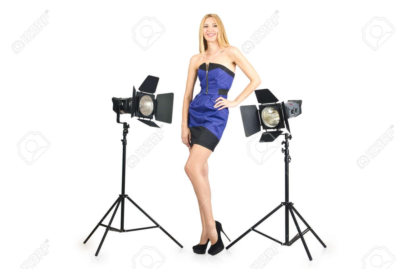 Attrative woman in photo studio Stock Photo - 16934014