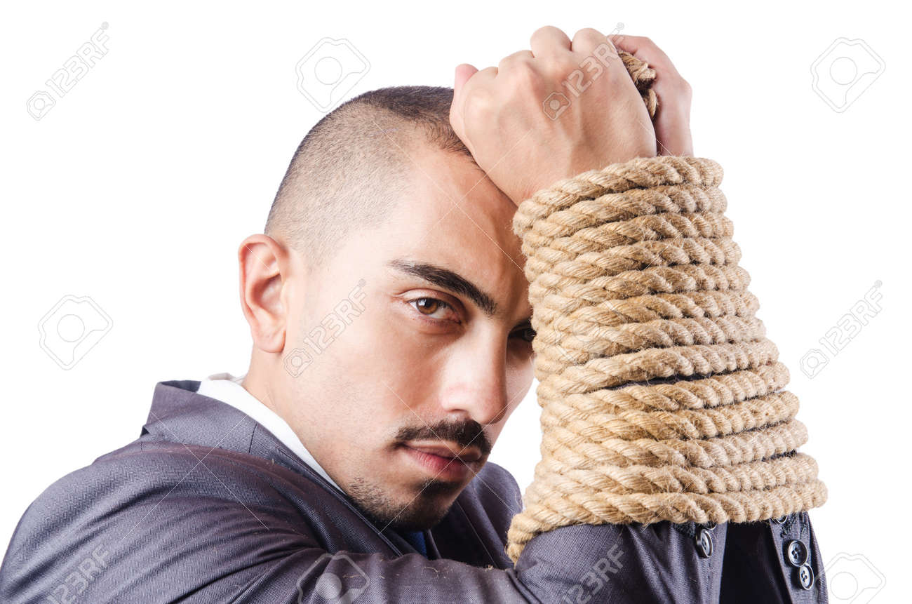 Businessman tied up with rope Stock Photo - 16934535